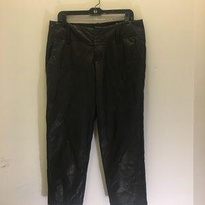 Alice & Olivia Linen blend/Leather Crop Pants  8